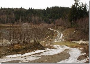icy, rocky ski trail