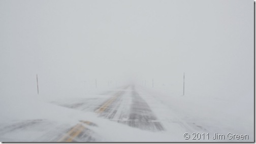 Haines Highway with drifting snow, low visibility