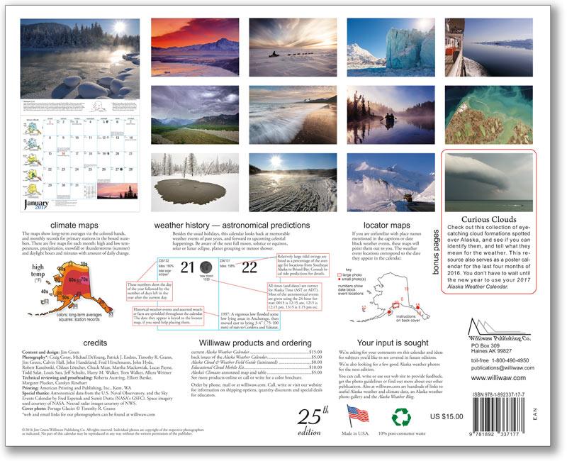 2017 Alaska Weather Calendar back cover