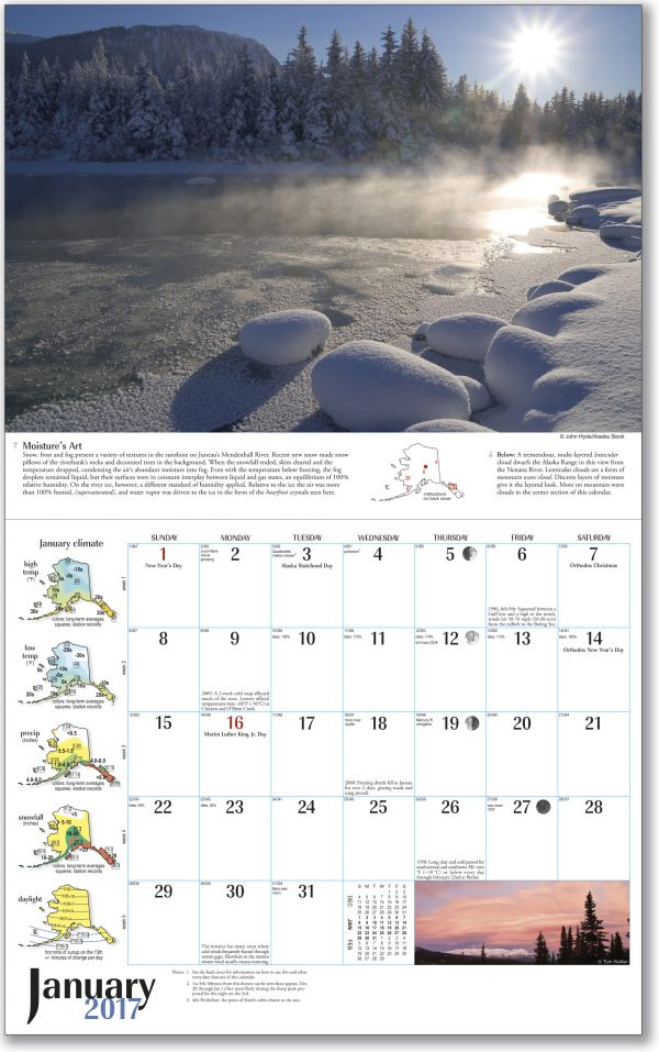 2017 Alaska Weather Calendar inside